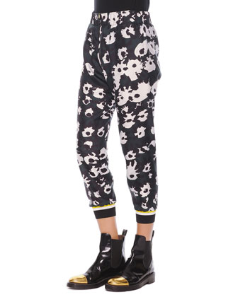 Bethany Elastic-Waist Cuffed Printed Pants, Black/White