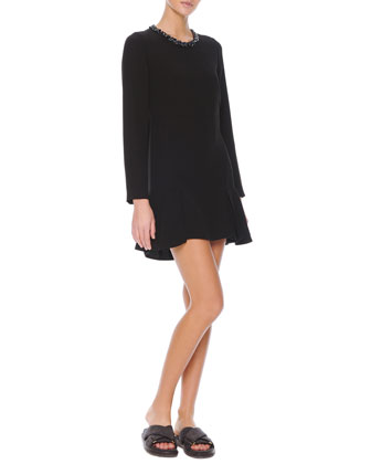 Long-Sleeve Jewel-Neck Dress, Coal Black