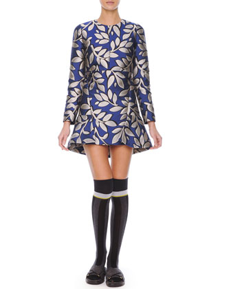 Long-Sleeve Macro-Flower Jacquard Tunic Dress