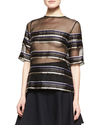 Striped Sheer Chiffon Tee, Black/Blue