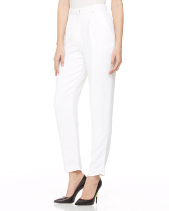High-Waist Crepe Pants, White
