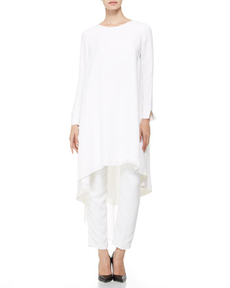 Long-Sleeve Pleated-Back Tunic/Dress, White