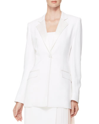 Long-Sleeve Bar Jacket & Strapless Pleated-Panel Dress, White/Pink