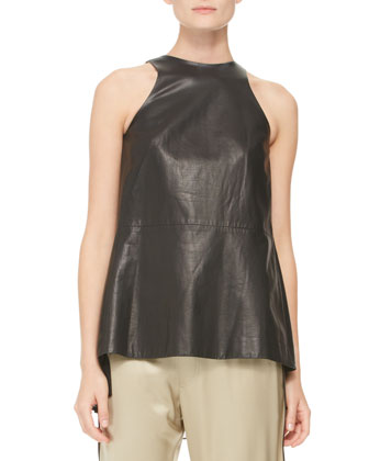 Pleated Silk-Inset Leather Top, Black