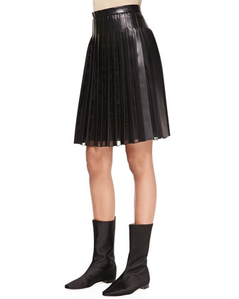 Pleated Sheer-Panel Leather Skirt