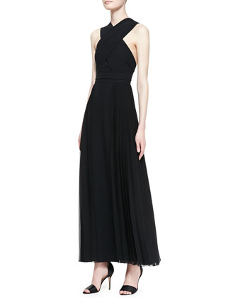 Pleated Crisscross-Top Gown