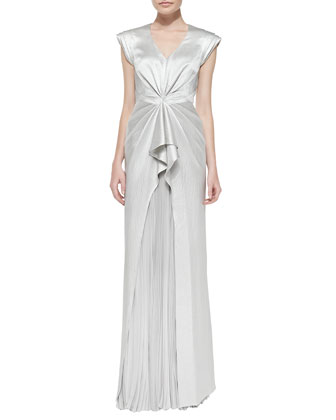 V-Neck Gown with Pleated Skirt, Gray