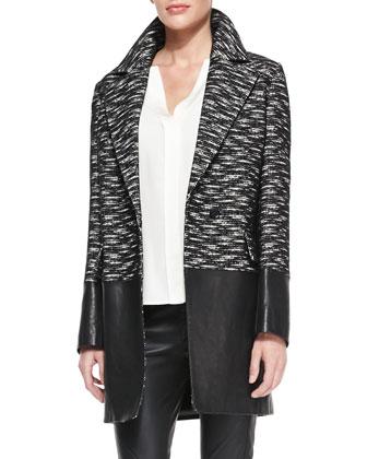 Leather-Panel Tweed Coat