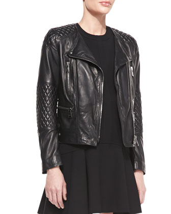 Lightweight Quilted Leather Moto Jacket