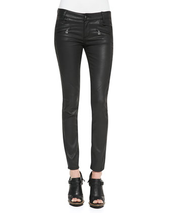 Skinny Coated Moto Jeans