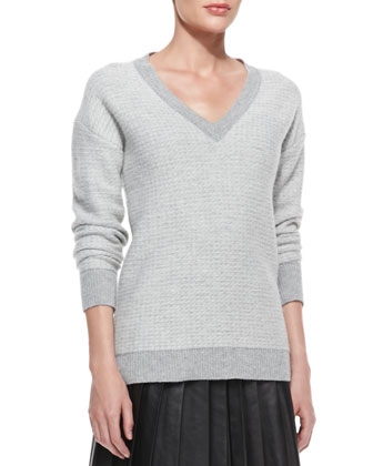 V-Neck Reverse Tweed Sweater