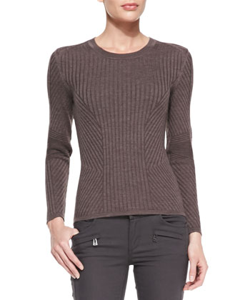 Contoured Ribbed Crew Sweater