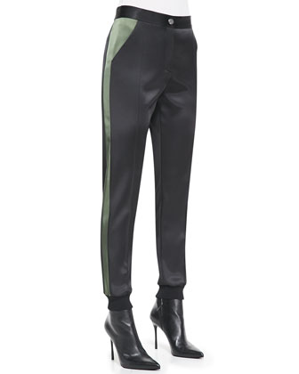 Bicolor Satin Double-Face Pants, Black/Army