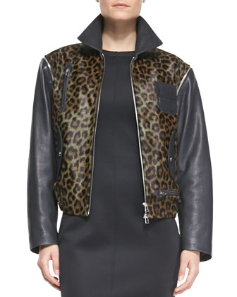 Convertible Leopard-Print/Leather Moto Vest-Jacket