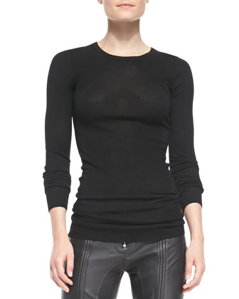 Long-Sleeve Wool Knit Top, Black