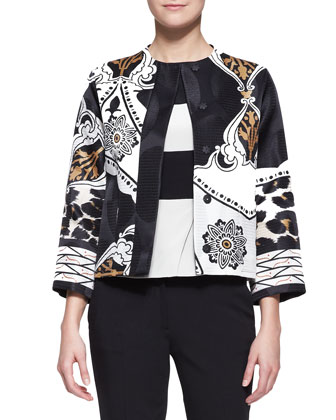 Exploded Paisley & Leopard-Print Jacket