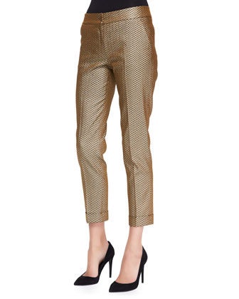 Stretch Metallic Herringbone Cuffed Pants