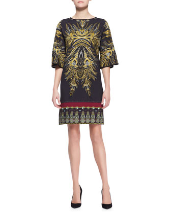 Bell-Sleeve Gold Fern-Print Tunic