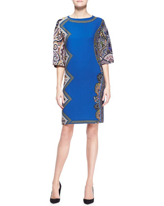 Bell-Sleeve Side-Printed Tunic Dress