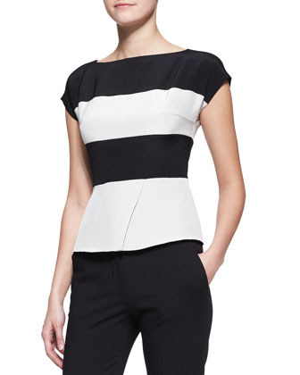Cap-Sleeve Wide-Stripe Peplum Top