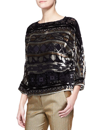 Long-Sleeve Geo-Print Boxy Top