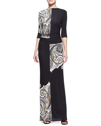 Half-Sleeve Pattern-Block Paisley Maxi Dress