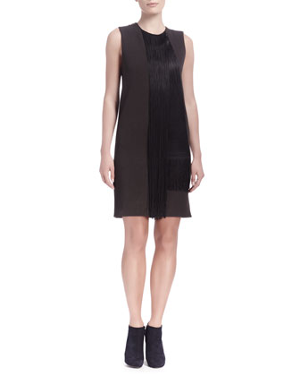 Sleeveless Waterfall Fringe Shift Dress, Dark Brown