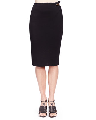 Side Metal-Detail Jersey Skirt