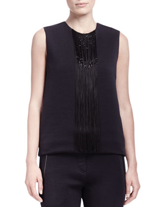 Waterfall Jersey Beaded-Fringe Top