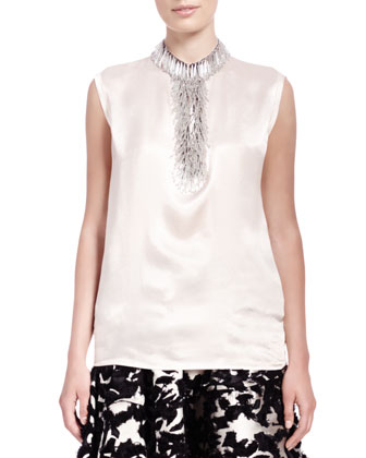 Satin Bead-Fringe Sleeveless Top