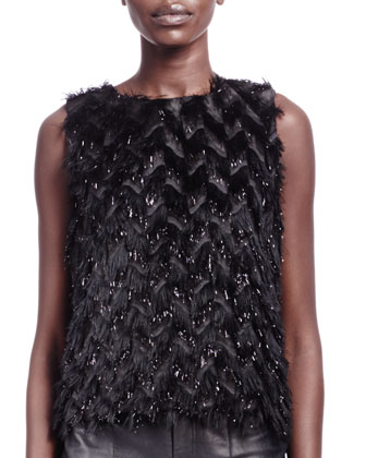 Feather-Effect Sleeveless Top