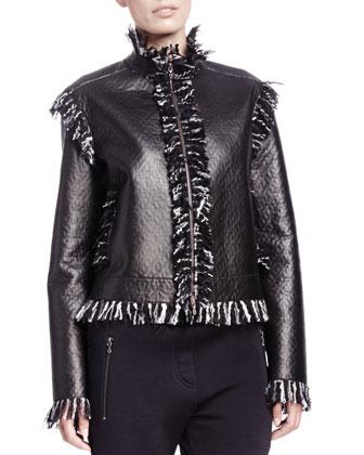Tweed-Fringe Lambskin Jacket