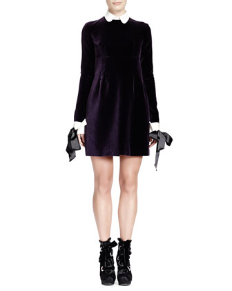 Velvet Contrast-Trim Long-Sleeve Dress