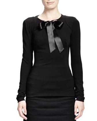 Rhinestone Grommet Top w/ Ribbon, Black