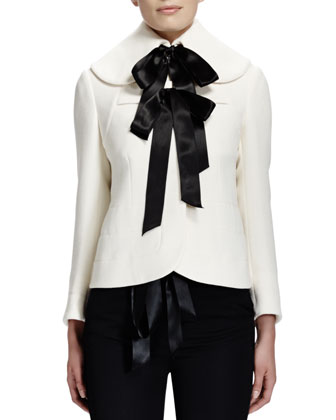 Seamed Wool Ribbon Jacket