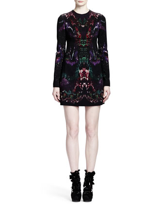 Long Sleeve Feather-Print Shift Dress, Multicolor