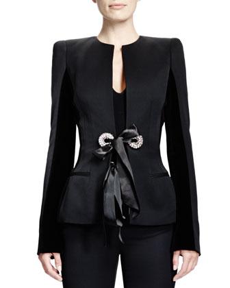 Wool Velvet-Insert Ribbon-Detail Jacket