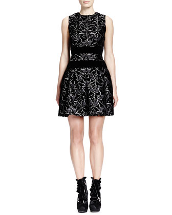 Sleeveless Ivy-Print Dress with Velvet Bands, Black/White