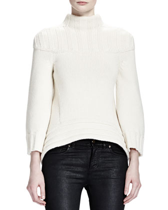 Wide Rib-Neck/Sleeve Sweater, Ivory