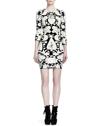 3/4-Sleeve Fairy Tale-Print Sheath Dress, Black/White