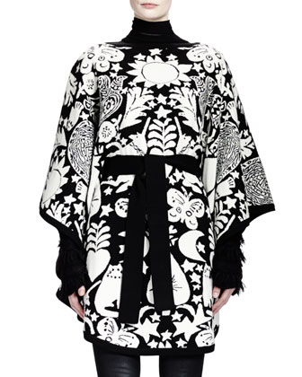 Fairy Tale-Print Poncho with Tunnel Belt, Black/White
