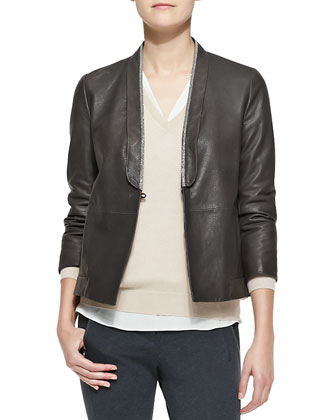 Metallic-Edged Leather Jacket