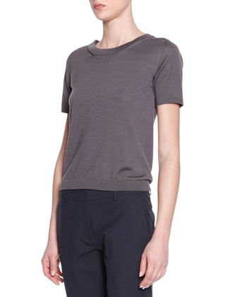 Short-Sleeve Wool Silk Tee