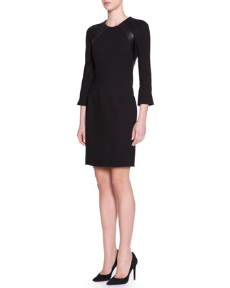 3/4-Sleeve Jersey Dress with Leather Trim