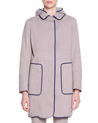 Contrast-Piped Hooded Techno Trench Coat