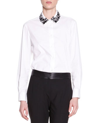 Embellished-Collar Poplin Blouse