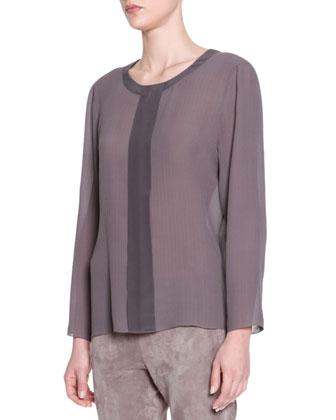 Long-Sleeve Center-Placket Silk Tunic