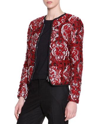 Matelasse Floral Textured Cardigan Jacket