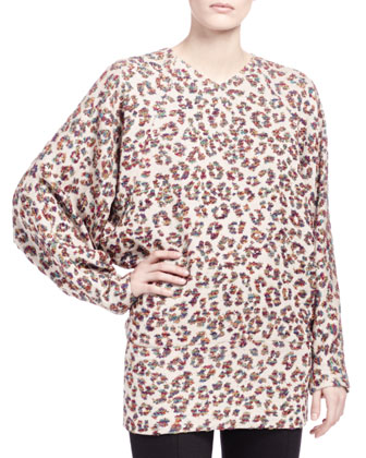 Long-Sleeve Animal-Print Blouse