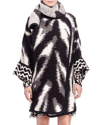 Zigzag Maxi Blanket Jacket